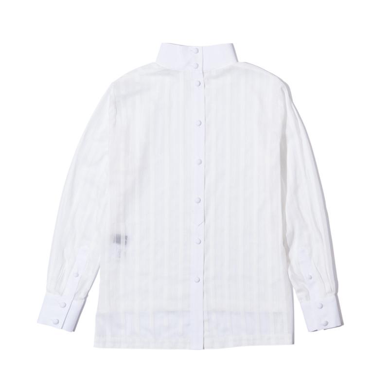 ハイネックストライプシャツ ホワイト