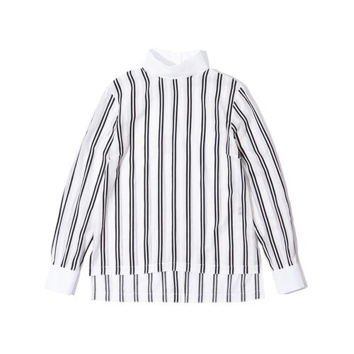 ハイネックストライプシャツ ネイビー