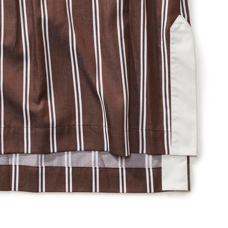 ストライプシャツワンピース ブラウン