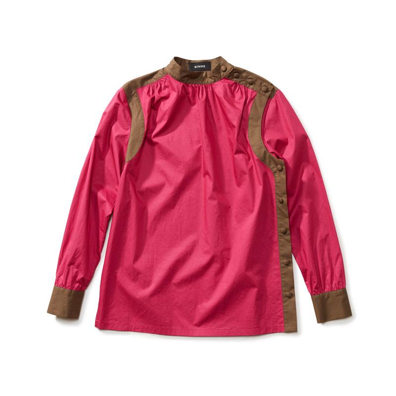 バイカラースタンドカラーシャツ ピンク×カーキ