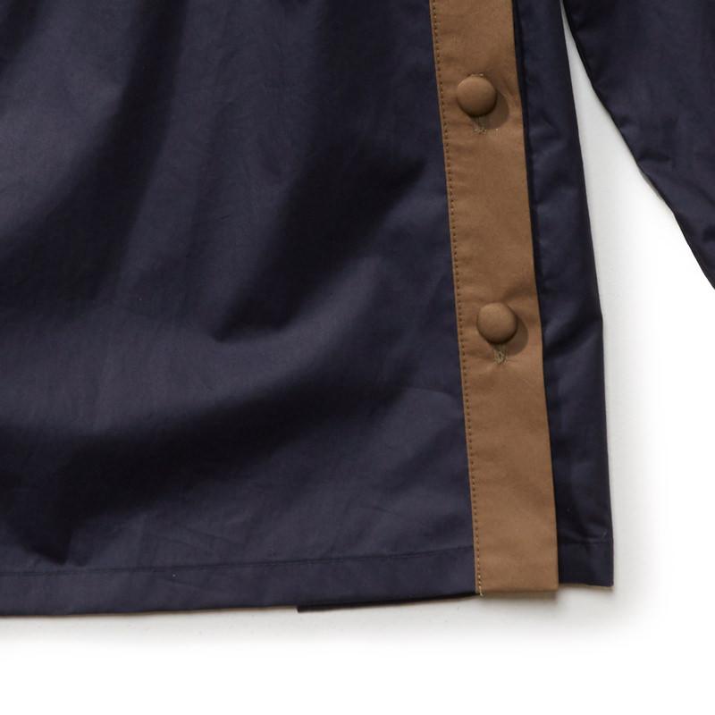 バイカラースタンドカラーシャツ ネイビー×カーキ