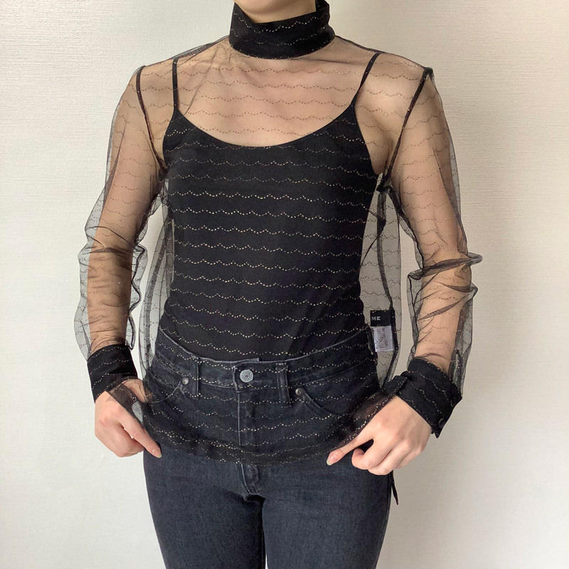 ハイネックレースシャツ
