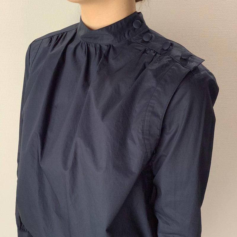 スタンドカラーシャツ ネイビー