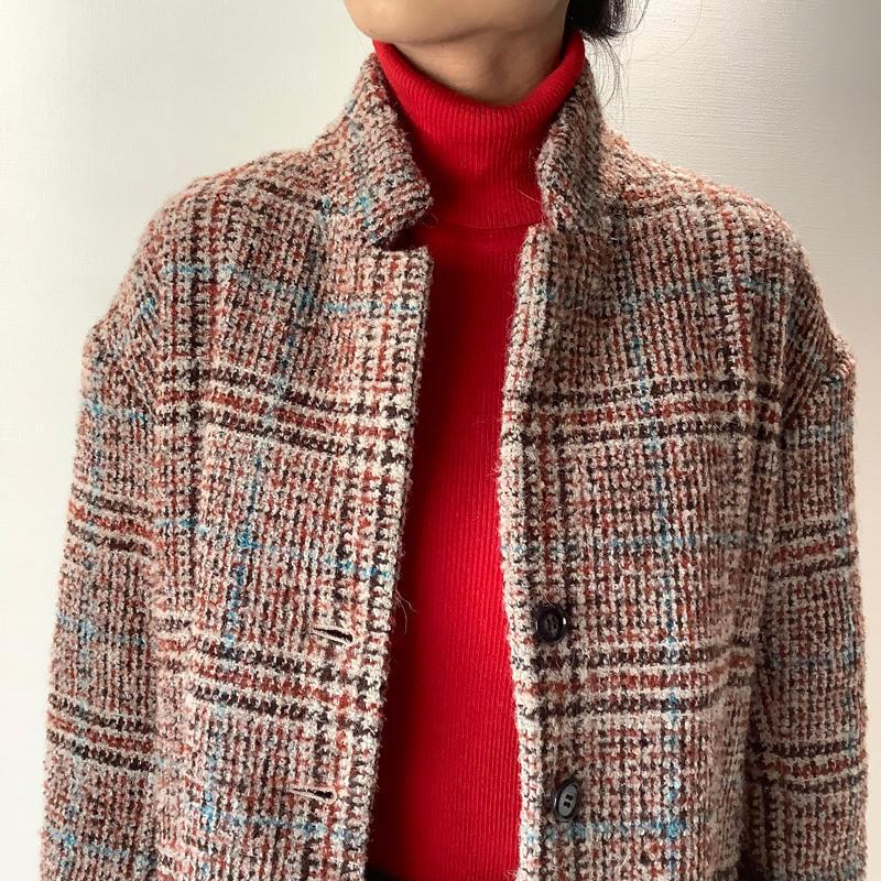 パデッドジャケット ブラウン×ターコイズライン
