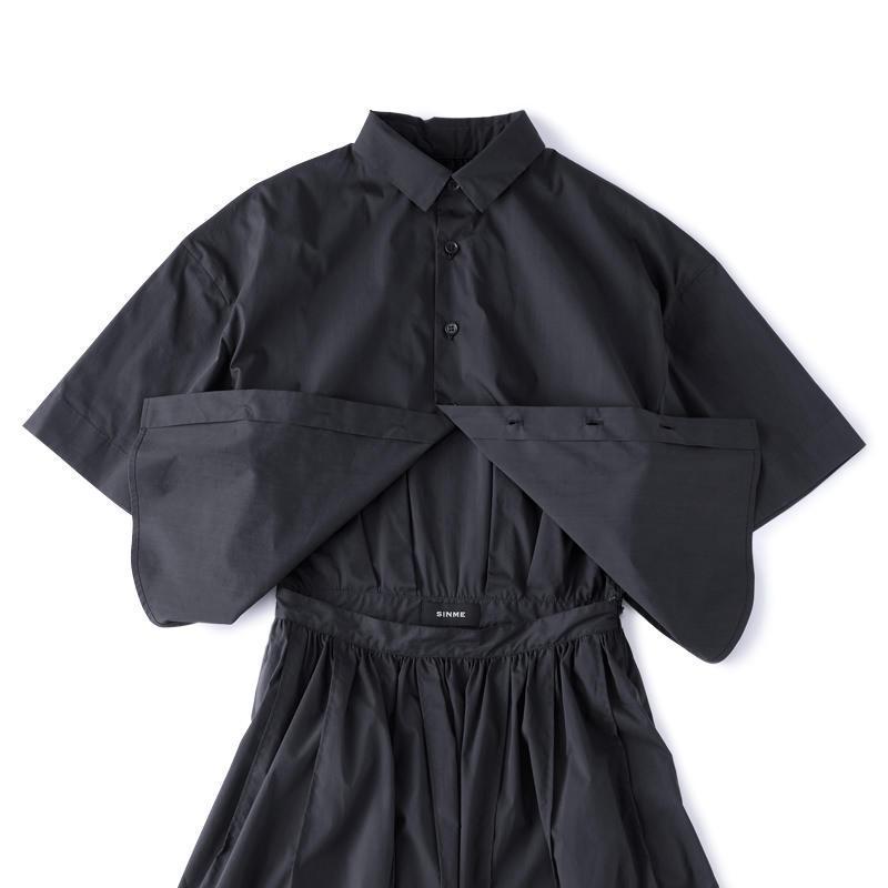 ロングシャツワンピース ブラック