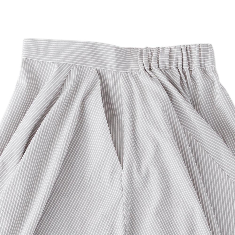 ストライプフレアスカート グレー×ホワイト