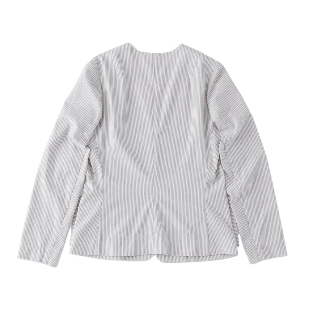 ノーカラーストライプジャケット グレー×ホワイト